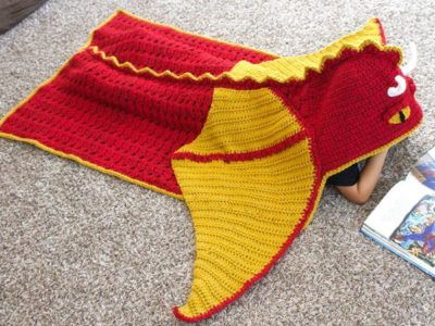 easy Cool Hooded Dragon Afghan pattern