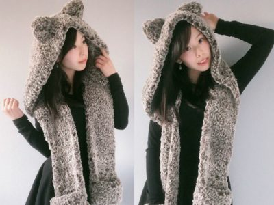 CROCHET Hooded Timber Wolf Scarf free pattern