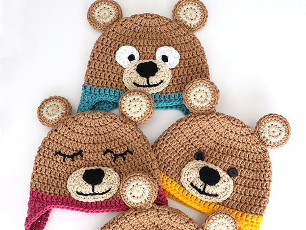 crochet Bernat Bear Hat free pattern