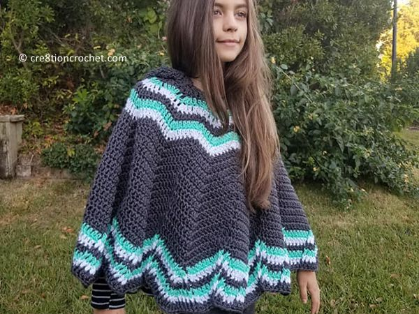crochet Big Mountain Poncho Children free pattern