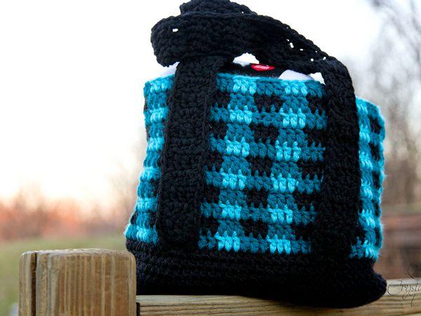 crochet Buffalo Plaid Tote Bag free pattern