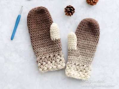 crochet Coffee Bean Mittens free pattern
