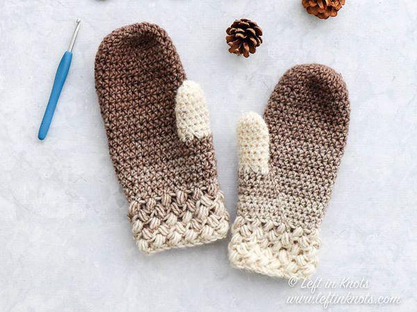 crochet Coffee Bean Mittens free pattern