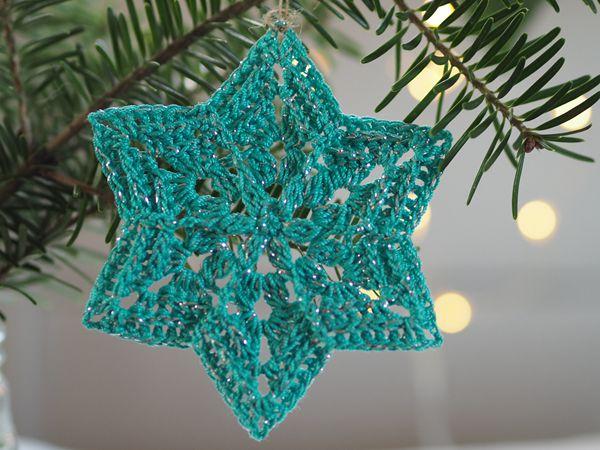 crochet Flower Star Snowflake free pattern