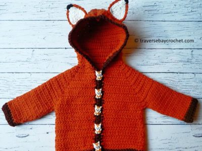 crochet Fox Baby Cardigan free pattern