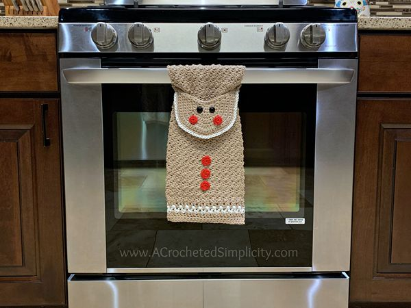crochet Gingerbread Man Kitchen Towel free pattern