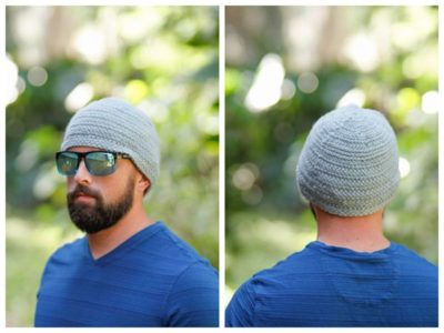 crochet Herringbone Stitch Mens Hat free pattern