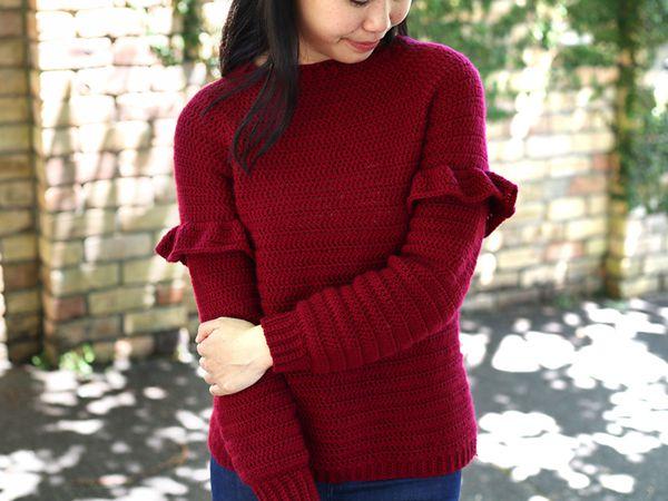 crochet Holly Berry Ruffle Sweater free pattern