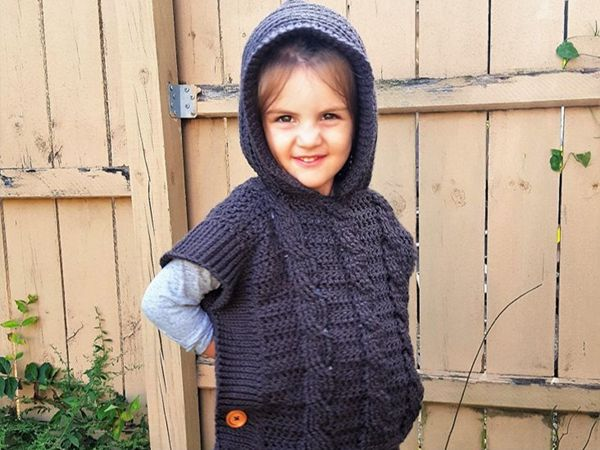 crochet Hooded Pullover for toddlers easy pattern