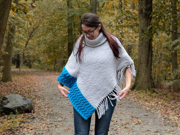 crochet Misty Grey Tunisian Poncho free pattern