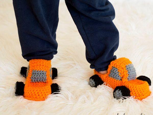 crochet Monster Truck Slippers easy pattern