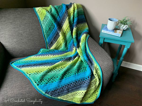 crochet On the Bias Rectangular Afghan free pattern