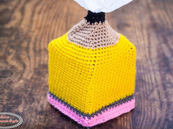 crochet Pencil Tissue Box Cover free pattern