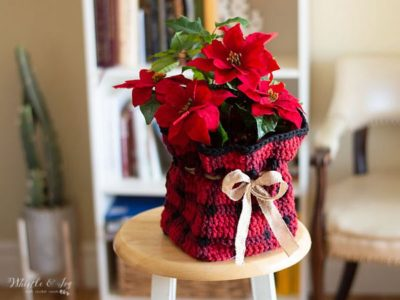 crochet Plaid Plant Basket free pattern