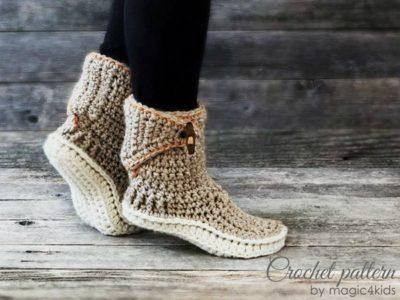 crochet Women Adjustable Slipper easy pattern