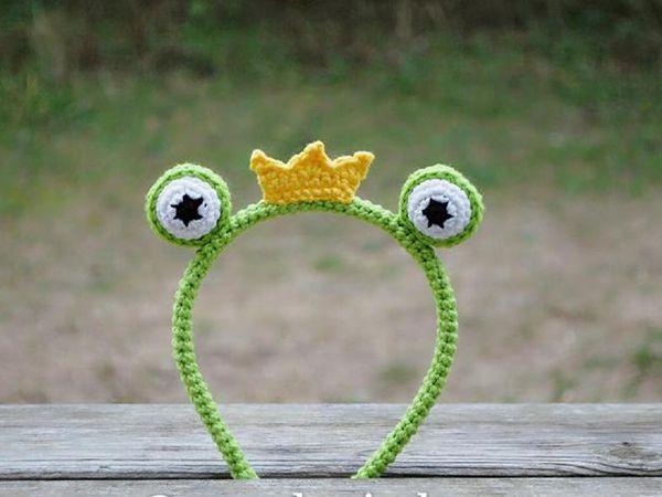 easy crochet Frog Headband pattern