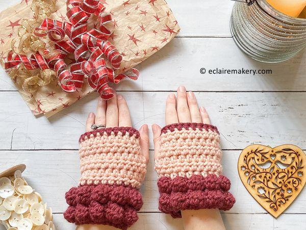 crochet Bobble Fingerless Gloves FREE pattern