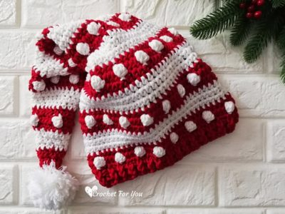 crochet Bobbles and Stripes Santa Hat free pattern