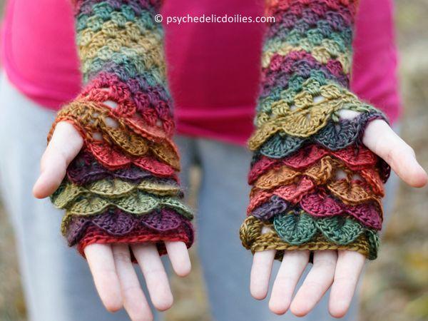 crochet Dragon Gloves free pattern