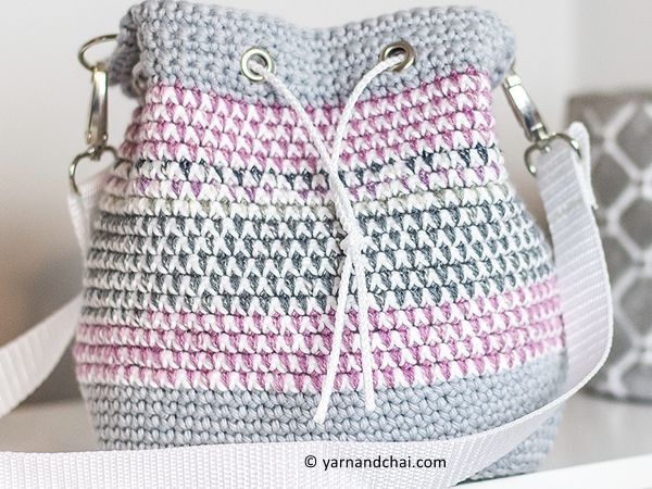 crochet Mosaic Bucket Bag free pattern