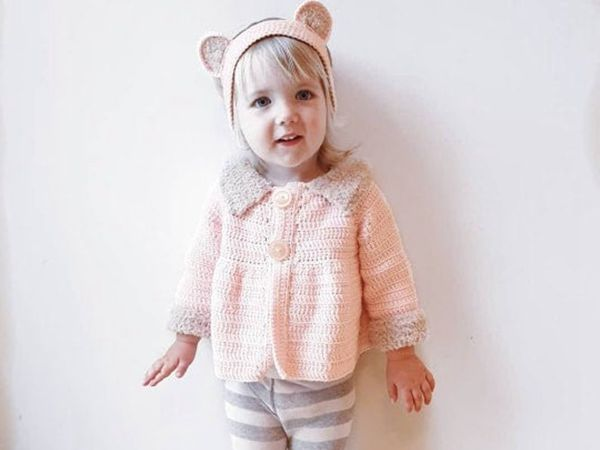 crochet Pink toddler Cardigan with Headband free pattern