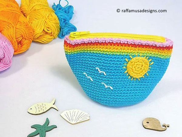 crochet Rainy Sunny Coin Purse free pattern