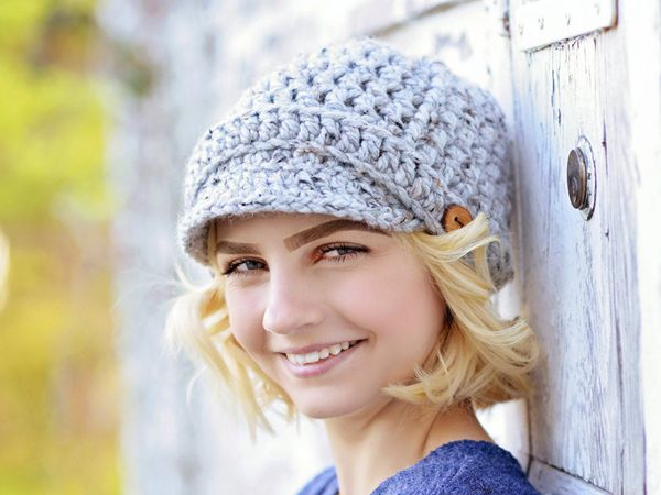 crochet Ribbed Newsboy Hat easy pattern