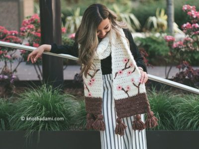crochet Sakura Scarf free pattern
