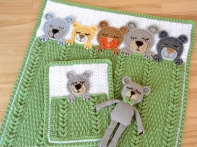crochet Sleep Tight Teddy Bear Baby Blanket easy pattern