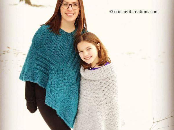 crochet Square Sampler Poncho free pattern