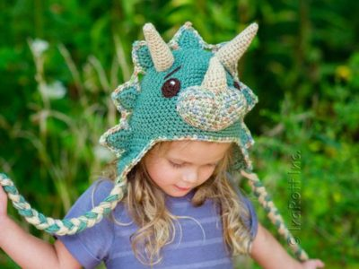 crochet The Triceratops Dinosaur Hat easy pattern