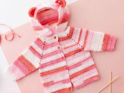 BABY BEAR CROCHET HOODIE free pattern