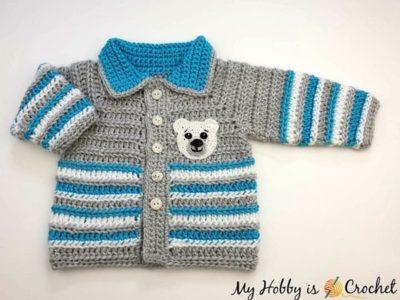 crochet Arctic Baby Cardigan free pattern