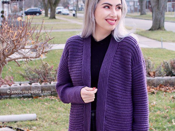 crochet Easy Amethyst Cardi free pattern