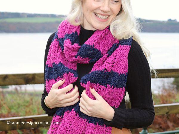 crochet Hot Pink Modern Scarf free pattern