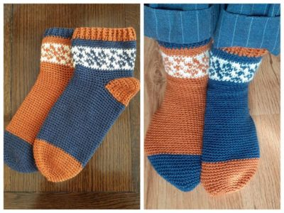 crochet Oddly Snug Snowflake Socks free pattern