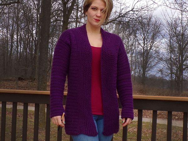 crochet Quick Purple Cardigan free pattern