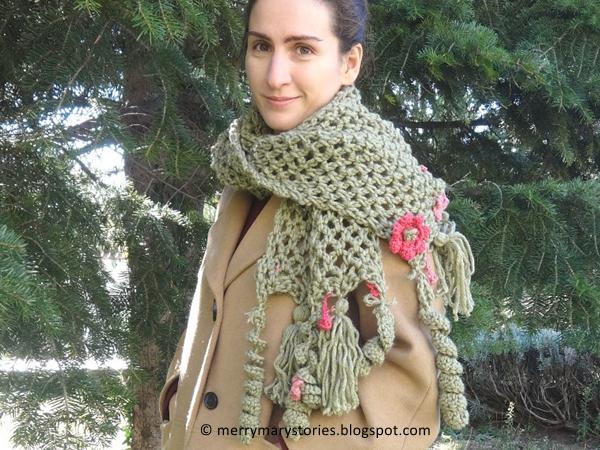 crochet Romantic Scarf free pattern