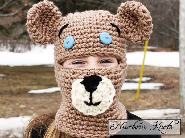 crochet Teddy Bear Balaclava easy pattern