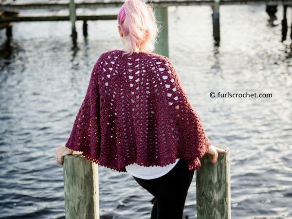 crochet Trapped in Love poncho free pattern
