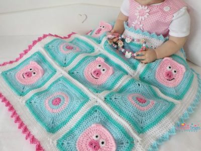 Crochet Piggy Blanket easy Pattern