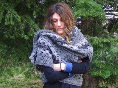 crochet Big Granny Scarf free pattern