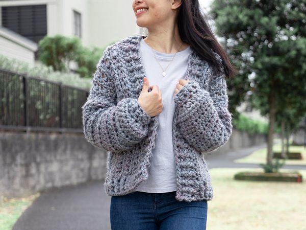 crochet Chunky Bomber Cardigan free pattern