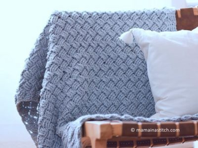 crochet Diagonal Diamonds Woven Throw free pattern