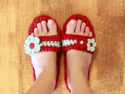 crochet Pammy Sandals with Flowers easy pattern