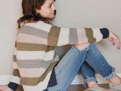 crochet Retro Stripes Sweater easy pattern
