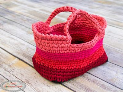 crochet T-Shirt Yarn Bag free pattern