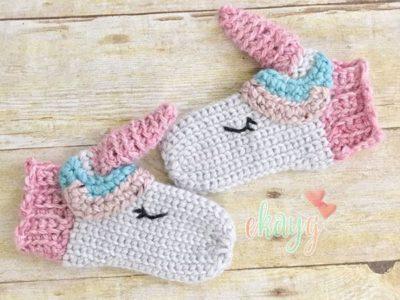 crochet Unicorn Mittens free pattern