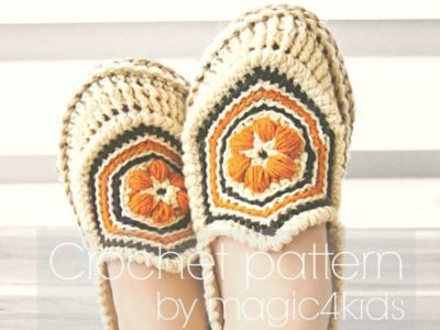 crochet Women Slippers with Rope Soles easy pattern