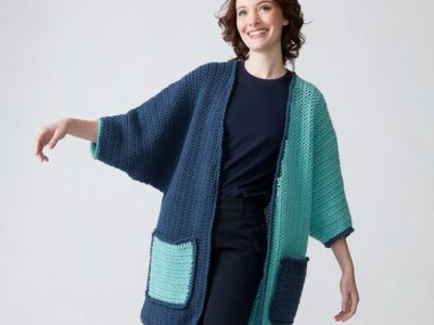 COLOR BLOCK CROCHET CARDIGAN free pattern